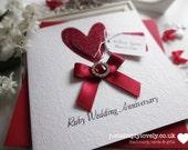 Beautiful Personalised Ruby Wedding Anniversary Card