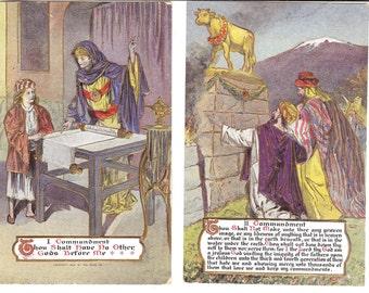 Vintage Postcards...The Ten Commandments, Set of Ten Postcards...Unused....no.1793