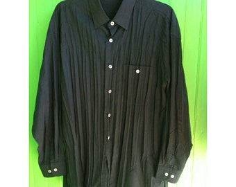 Issey Miyake Black Pleated Men's Button Down Shirt 1990s Japan