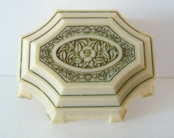 Vintage Double Ring Box Ring Holder Cream Ring Display Box Celluloid Plastic