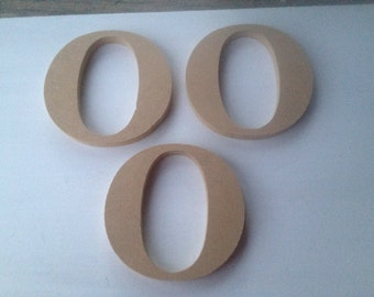 Three Unfinished Wooden Letters-O, Unpainted Wood Letter Shapes-O, Wood Craft Supplies