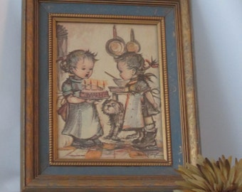 Beautifully Framed Print of Two Children, Birthday Cake and Dog.