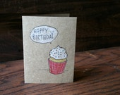 Happy Birthday // Cup Cake // Hand Drawn Card // Sweet Treat // Birthday Gift
