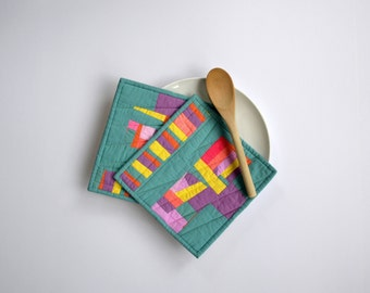 Teal Pot Holders, Quilted Pot Holders, Modern Potholders, Blue, Bright Hot Pads