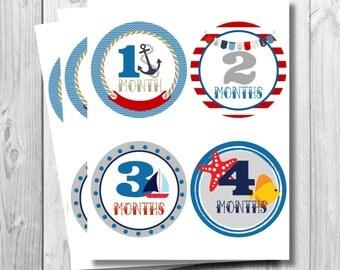 Nautical Monthly Onesie Stickers