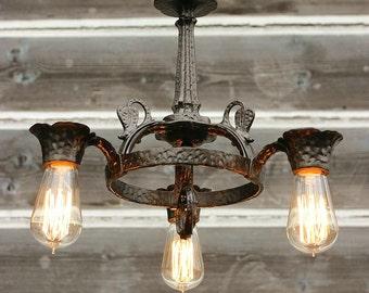 FREE SHIPPING, Antique Iron Ceiling Light, Antique Chandelier, Vintage Lighting, Vintage Chandelier, Kitchen Lighting, Foyer Light Fixture