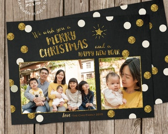 Gold Bubbles Christmas Photo Greeting Card Digital Printable with free back design (printed cards available), ANY color any wording