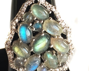 labradorite 925 Sterling Silver Ring setted Gemstone Cabochons & Cubic Zircona White Rhodium Plated Jewelry