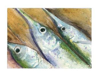 Watercolor Garfish, Garfish Print, Fish Print, Fish Painting, Fish Art