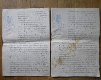 Antique Document juridique Français x 2 années 1800 sur vieux papier vélin superbe calligraphie LGF4