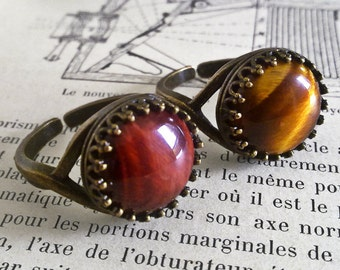 Steampunk Ring, Tigers Eye Ring, Aged Brass Adjustable Ring, Tiger's Eye Jewelry, Gemstone Ring