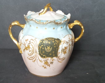 Antique french Candy jar .1800s Candy dish in Porcelain