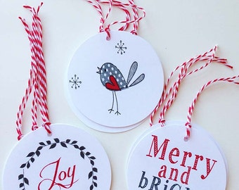 Holiday gift tags - red and white - pack of 12