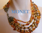 Monet 5 strand necklace natural tiger's eye, amber chips, quartz and colored glass beads statement piece