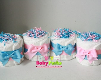 Gender Reveal Diaper Cake, Boy or Girl Baby Shower Centerpiece, Pink and Blue Baby Shower decorations , Table Centerpiece, Gender Neutral