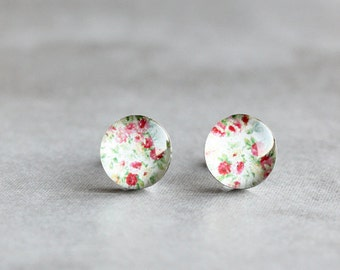 Floral earrings, Surgical steel stud, Roses earring studs, Flower earrings, romantic earrings, womens earrings, gift for her