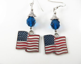 U S flag earrings