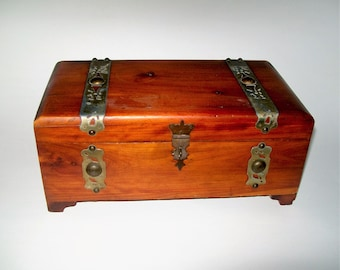 Vintage Cigar Box Knotty Pine Jewelry Box Brass Accents Side Handles Trinket Box