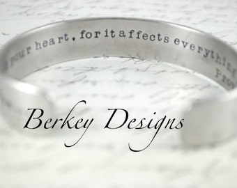 Above All Else, Guard Your Heart, Proverbs 4:23 Secret Message Hand Stamped Bracelet- Personalized Bracelet
