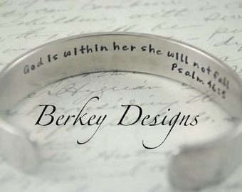 God is Within Her She Will not Fall Psalm 46:5 Secret Message Hand Stamped Bracelet- Personalized Bracelet