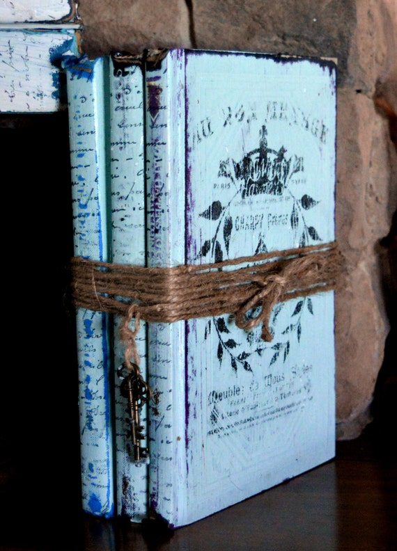 Old french book bundle aqua distressed book stack old book for Antique books for decoration