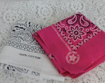 Vintage Lot of 2 Bandanas Pink and White Cotton