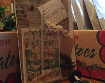 NEWSPAPER Lover's STATIONARY Set: Spiral Bound Handmade Comic Strip NOTEBOOK, two shaped Erasers & Super Neat Recycled Newspaper Pencil