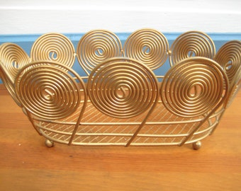Gold Metal Basket/Swirl Gold Wedding Card Basket/Gold Metal Home Decor/ Christmas Metal Basket
