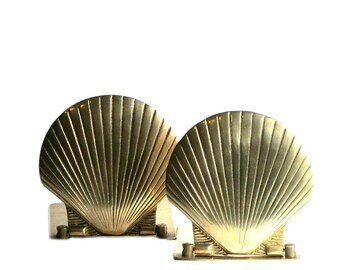 Brass Sea Shell Bookends Folding Scallop Book Holders Hollywood Regency Office Beach Cottage Decor