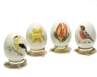 Vintage Dated Porcelain Goebel Eggs and Footed Stands W. German Easter Scenes Daffodil Tulip Goldfinch Robin Collectibles