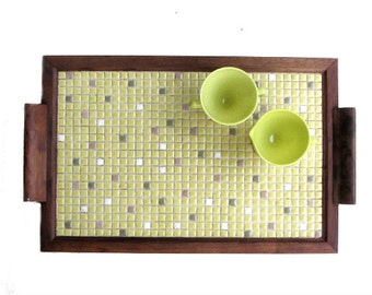 Mosaic Tile Serving Tray Soft Yellow Taupe Gold Flecks Wood Frame and Handles Beverage Snacks Retro Party