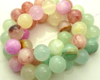 10mm Mixed Jade Round Gemstone Beads - 15.5 Inch Strand - Green, Pink, Yellow Beads - BG2