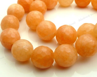 10mm Orange Peach Jade Faceted Gemstone Beads - 19pcs - BF37