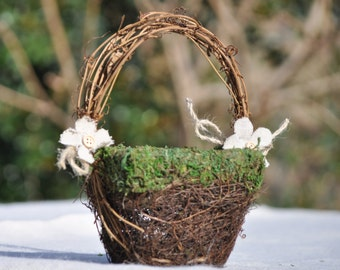 MINI Flower Girl Basket/Nest Rustic-Fairytale-Woodland Wedding