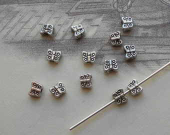 100 Butterfly Beads, Tibetan Silver,  4 mm Spacer Beads, U.S Seller - sp073