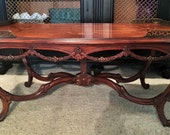 Vintage French Louis XV Style Drape Carved Inlaid Brass Gallery Coffee Table-Local Pick Up Akron, Ohio
