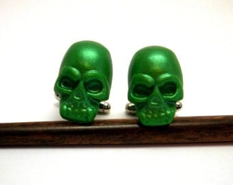 Skull Cufflinks Green Pearlescent Handmade wedding favors groomsmens anniversary gifts green cuff links