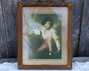 Antique Vintage Boy with Rabbit Print Carved Frame with Roses and Ribbon