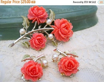 Coral Celluloid Brooch Earrings Carved Roses