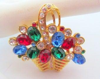 Flower Basket Brooch - Jewel Tone Rhinestones -Gold Basket - 70's Pin