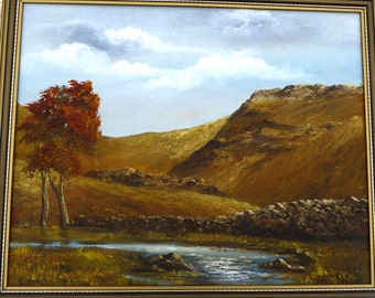 Jean Rennie Oil on Board Painting Vintage Art OOAK Painting Vintage Riverscape Painting Vintage Oil Painting Vintage Landscape Painting