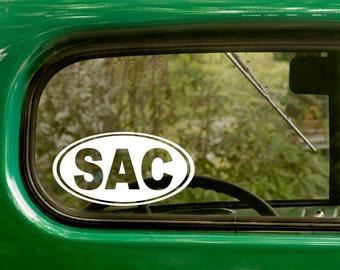 Sacramento Decal, SAC Decal, Sacramento California, Car Decal, Travel Mug, Yeti, Laptop Sticker, Oval Sticker, Vinyl Decal, Car Sticker