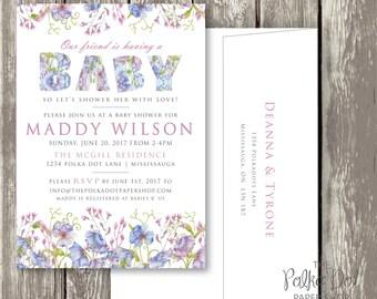 Cornflower / Wildflower Baby Shower Invitation, Includes return address printing!