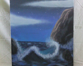 Tide at Midnight, Acrylic Painting on hand stretched Canvas