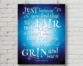 Matilda Inspired Fan Art, Printable Matilda Broadway Musical lyrics, grin and bear it, Word Art Poster, 11x14 and 8x10 INSTANT DOWNLOAD