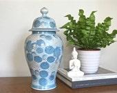 Vintage Asian Ginger Jar Porcelain Potiche Jar Blue Chrysanthemum Bisque Moriage Finish