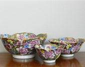 Vintage Chinese Porcelain Bowl Set Rose Medallion Gold Floral Lotus Bowls Set of Three Chinoiserie Chic Spring Decor