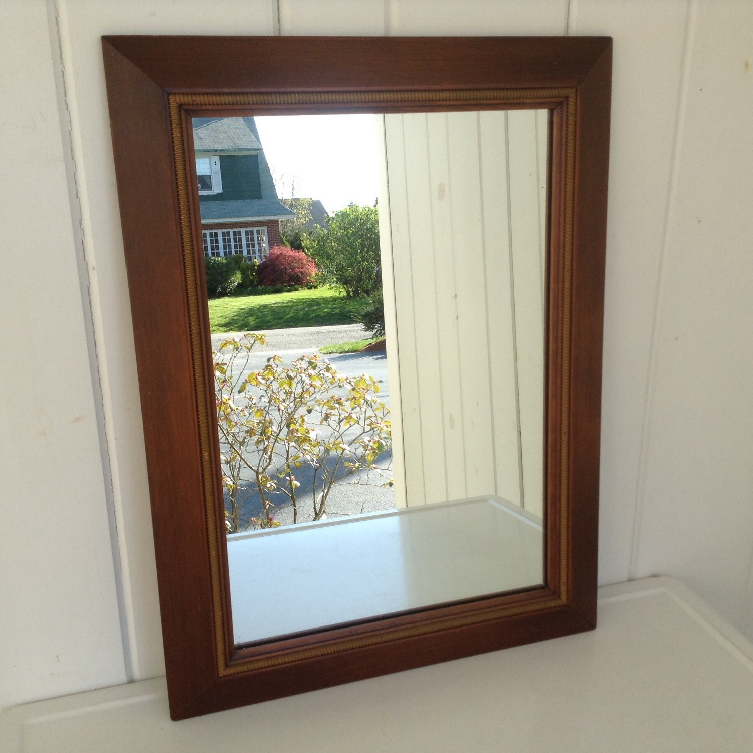 Vintage 18 x 24 wooden wall mirror walnut color for Mirror 18 x 24