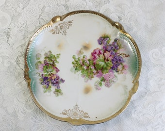 Hand painted antique china plate- vintage porcelain- purple, pink, teal- grapes, lilacs- gold embellished- scalloped, raised rim- Bavaria