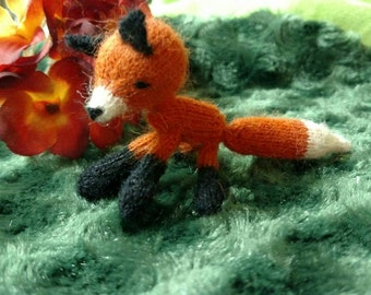 Miniature Knit Fox Doll or Car Mirror Decor - amigurumi knitted toy